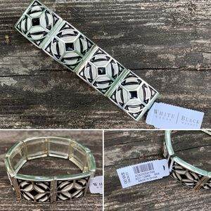 WHBM Bracelet Black White Geometric on Silver NEW